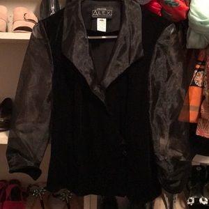 petite alex evenings black velvet blouse MP